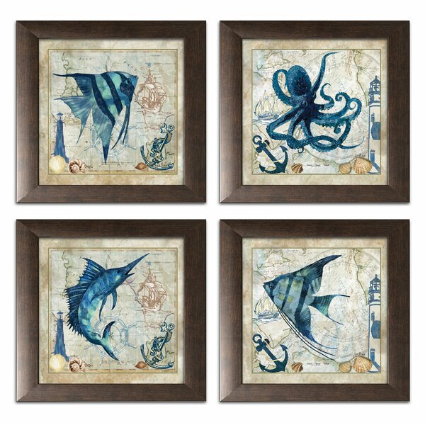 'Classic Nautical Octopus, Swordfish, and Tropical Fishes'