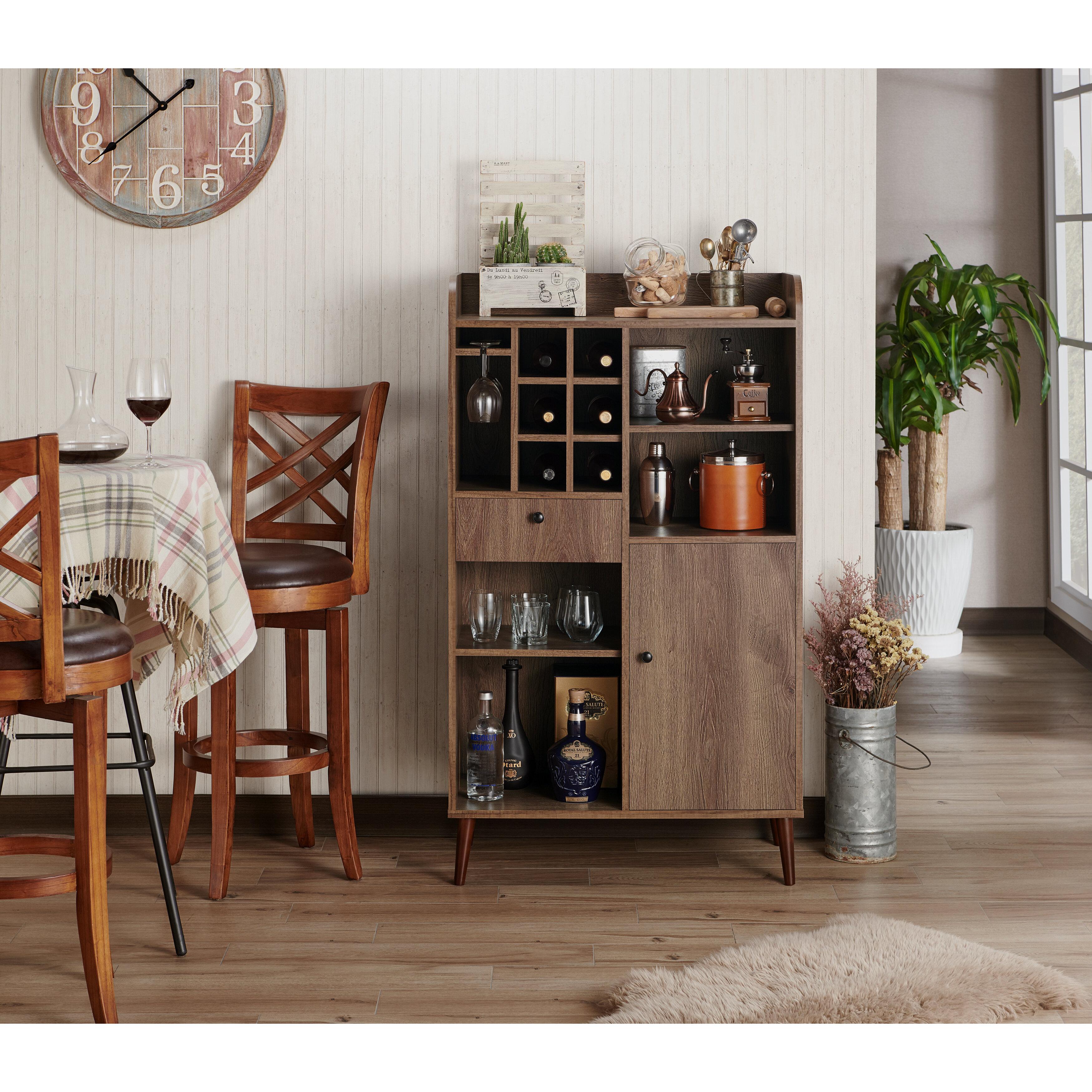 Gracie Oaks Pryor Wine Bar With Wine Storage | Wayfair