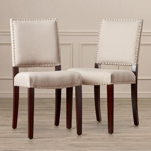 Willa Arlo Interiors Dinardo Bicast Leather Side Chairs in Cream (Set of 2)