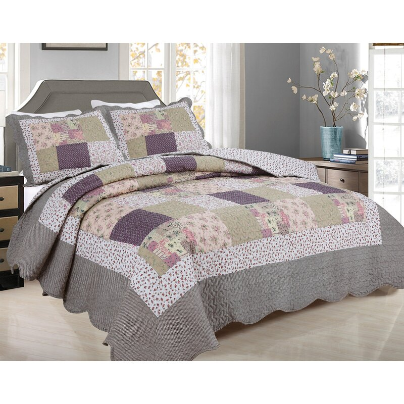 Checked Quilted Patchwork Coverlet Queen//King Size Bedspreads Set Throw Rug New