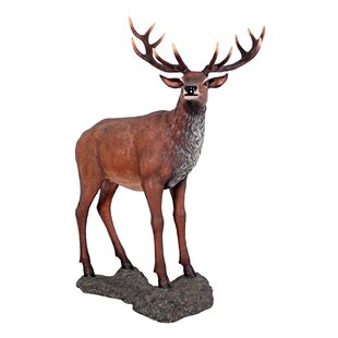 Design Toscano Grand-Scale Red Deer Buck Statue with Base