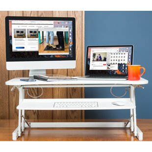 Castella DADR Height Adjustable Sit to Standing Desk Riser and Converter 37 White
