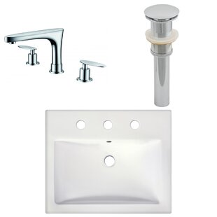 Affordable Ceramic Rectangular Vessel Bathroom Sink with Faucet ByAmerican Imaginations