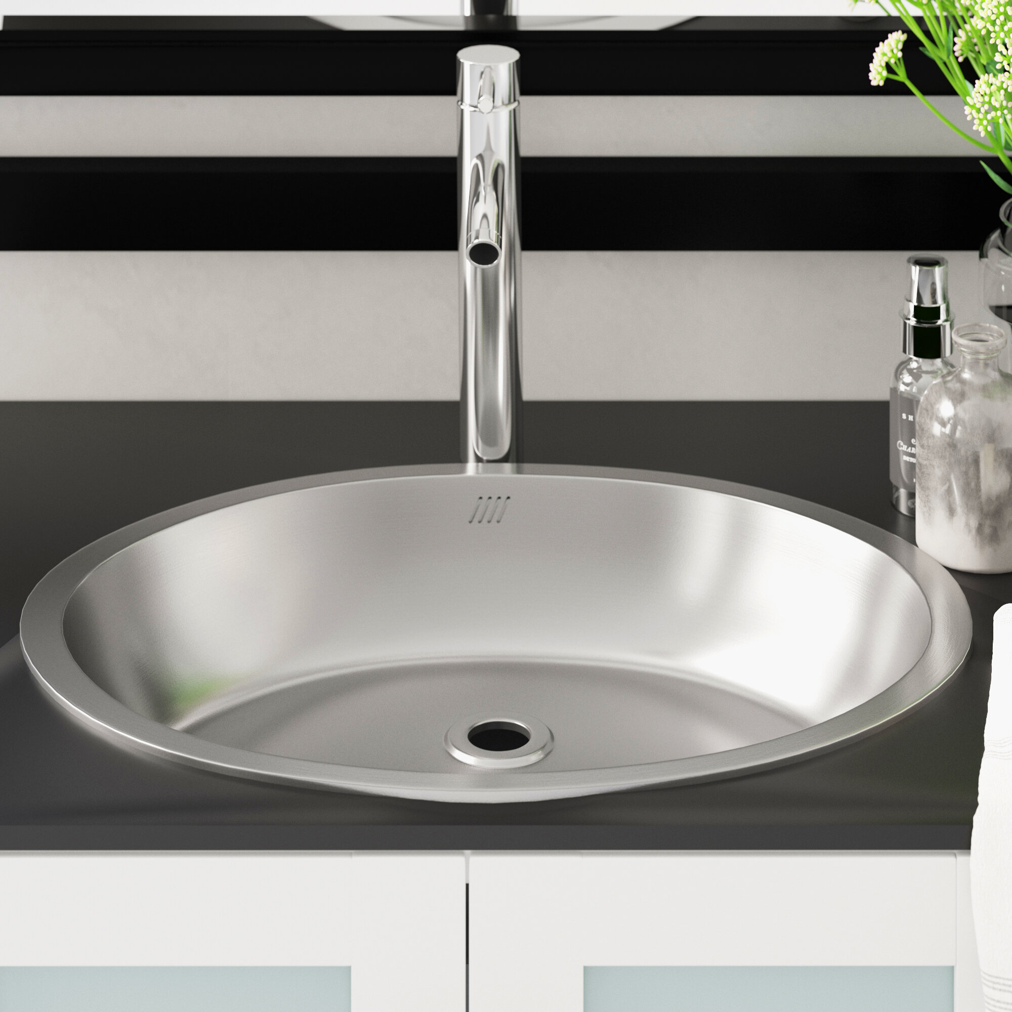 Bon 1917 Stainless Steel Oval Dual Mount Bathroom Sink With Overflow
