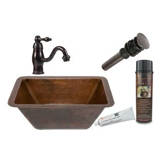 Premier Copper Products Metal Rectangular Undermount Bathroom Sink with Faucet