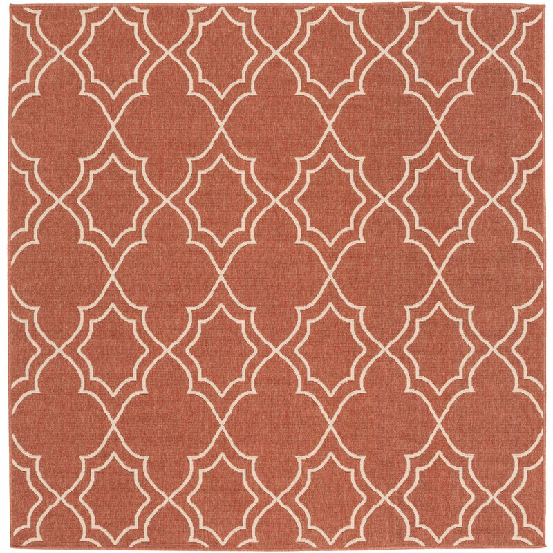 Alcott Hill Amato Power Loomed Rust/Cream Indoor/Outdoor Area Rug, Size: Square 73