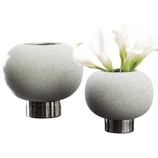 Silver Banded Sphere Table Vase