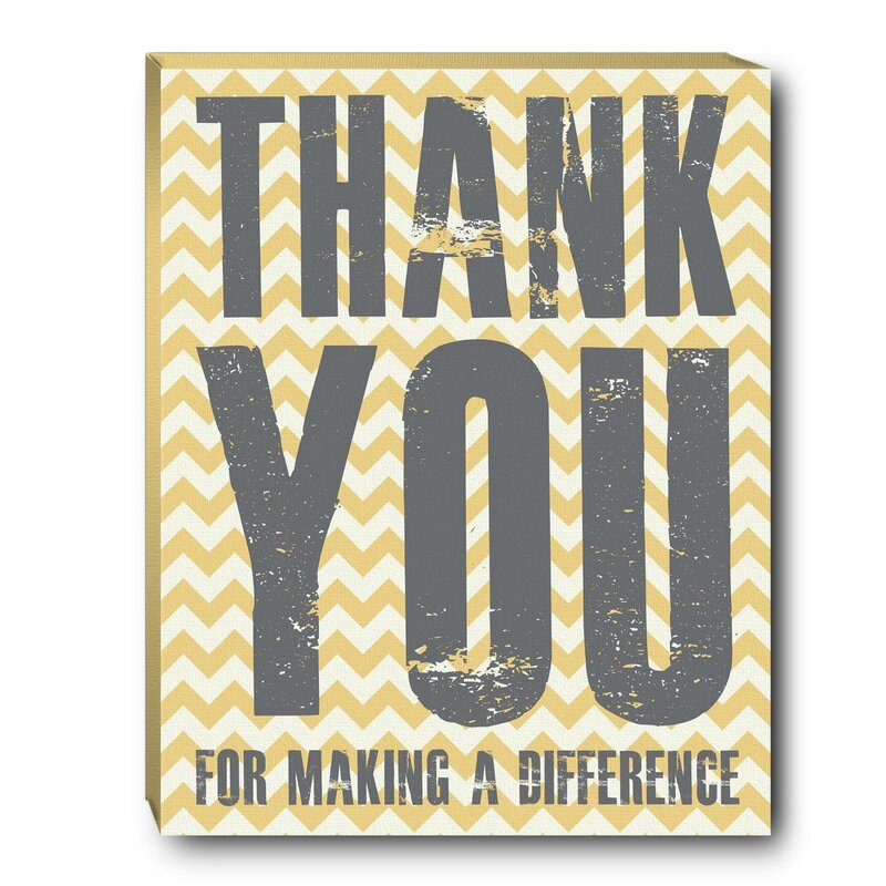 Successories Thank You Difference Inspirational Textual Art On Canvas Wayfair