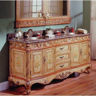 Top Rosabel Hand-Painted 76 Double Vanity Set with Mirror ByAstoria Grand