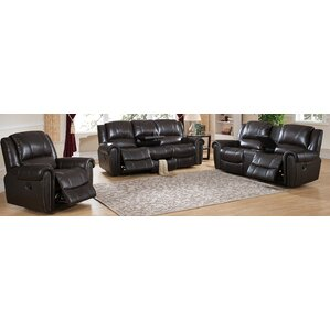Amax Charlotte 3 Piece Leather Living Room Set