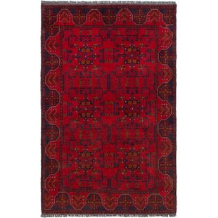 Best Deals One-of-a-Kind Kaler Hand-Knotted 3'11 x 6'3 Wool Red/Black Area Rug By Isabelline