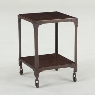 Hackett Teak Wood and Iron End Table by Williston Forge