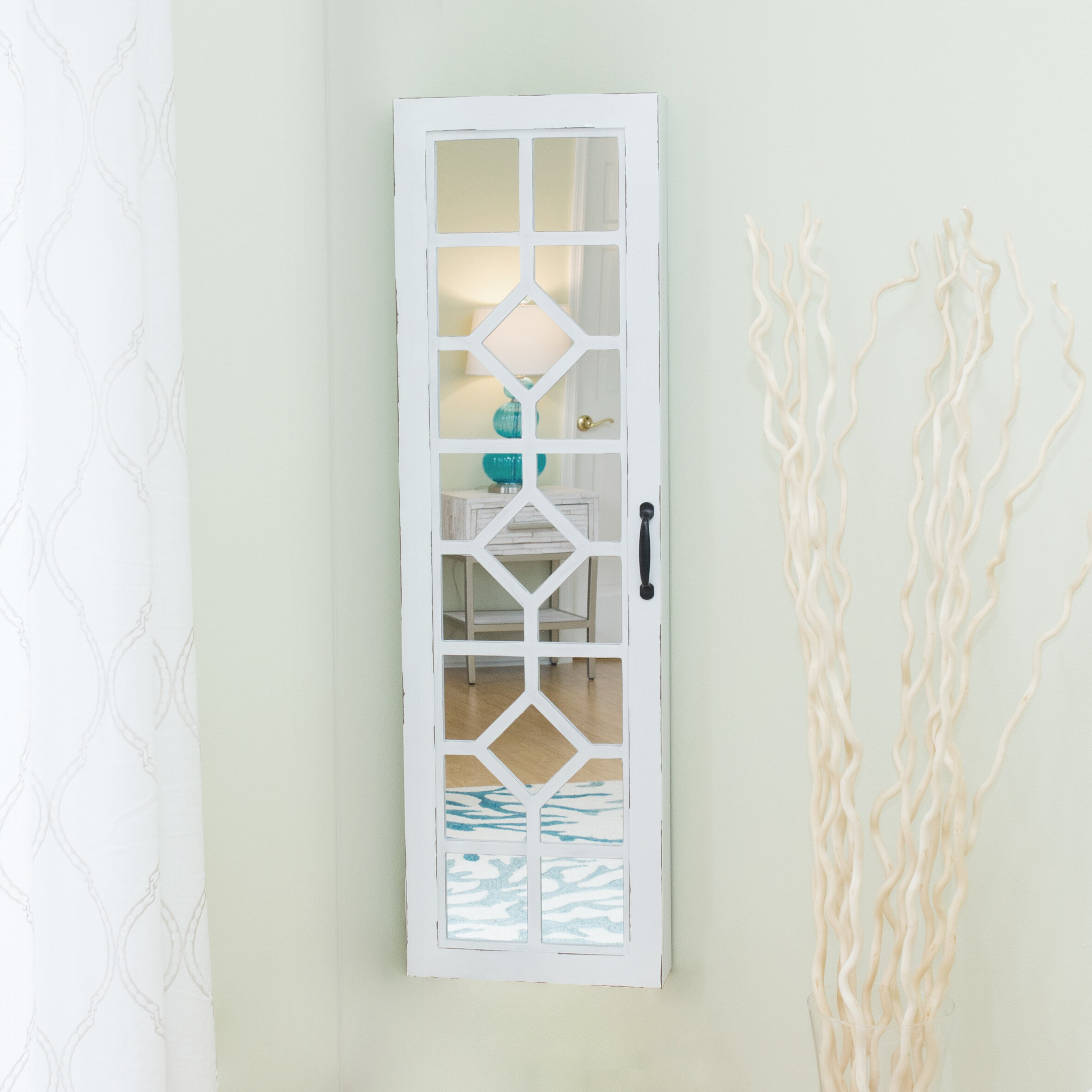 OVER THE DOOR// WALL MOUNT JEWELRY ARMOIRE WITH MIRROR--WHITE