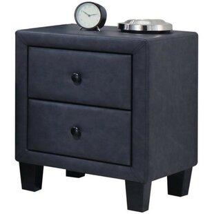 Ebern Designs Chambliss Polyurethane Upholstered 2 Drawer Nightstand