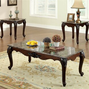 Sherie Traditional 3 Piece Coffee Table Set