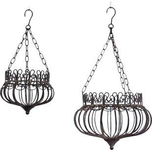 2 Piece Metal Hanging Basket Set By Astoria Grand