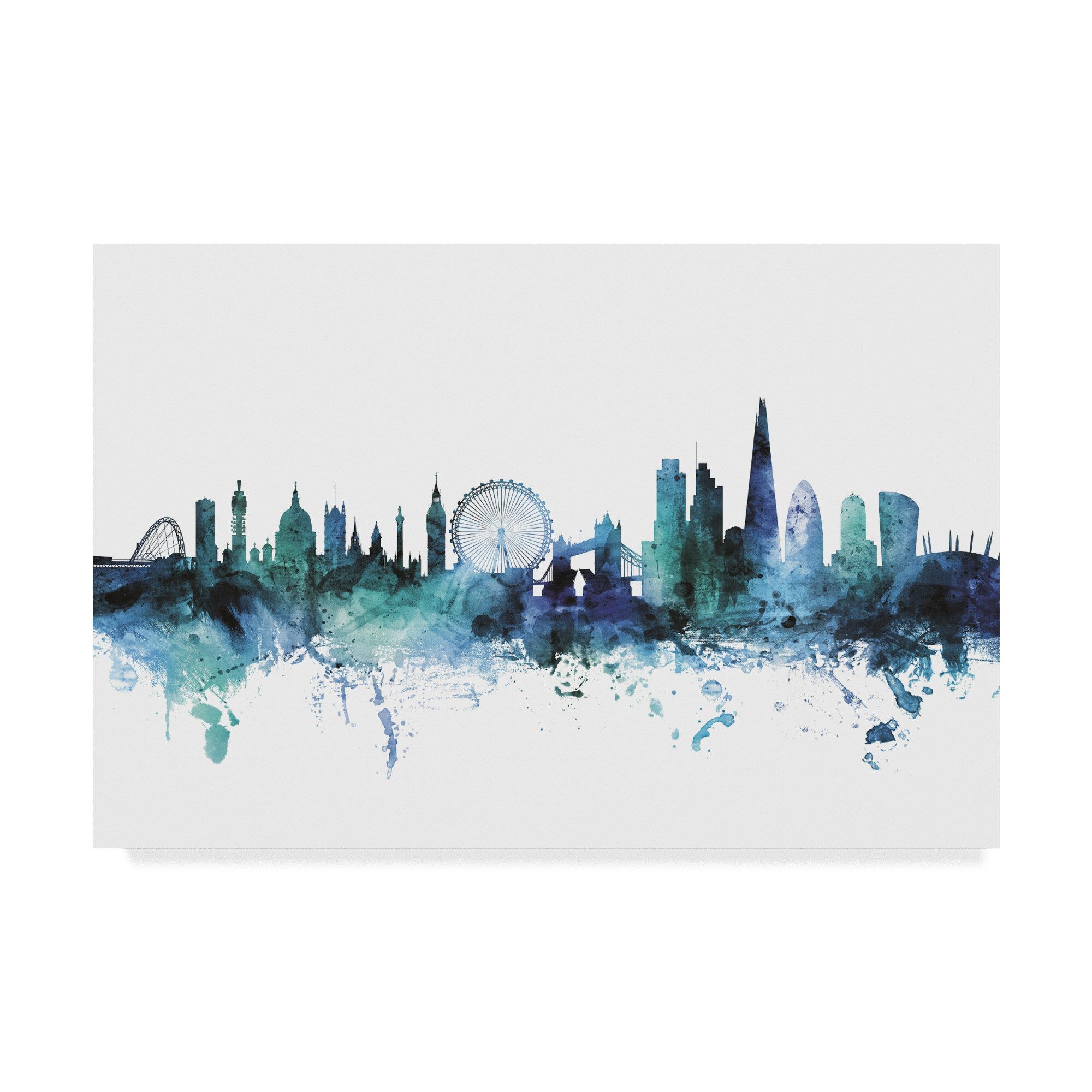 Wrought Studio London England Blue Teal Skyline Graphic Art Print On Wrapped Canvas Wayfair