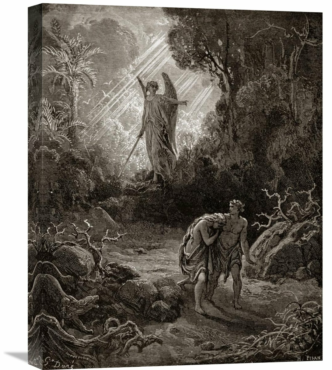 Global Gallery Adam And Eve The Expulsion From The Garden From Milton S Paradise Lost By Gustave Dore Painting Print On Wrapped Canvas Wayfair Ca