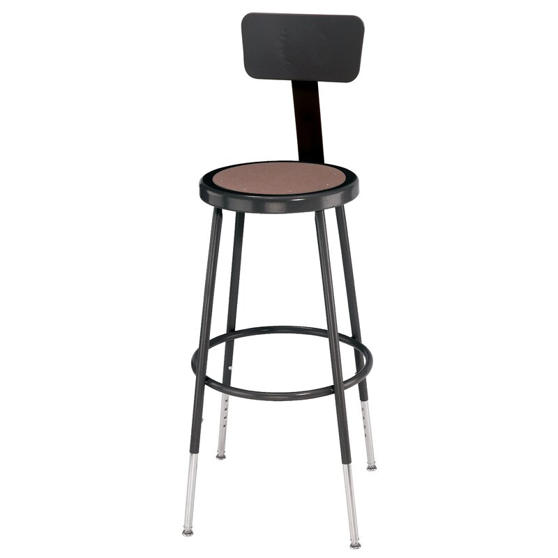 Charmant Height Adjustable Stool With Back And Round Hardboard Seat