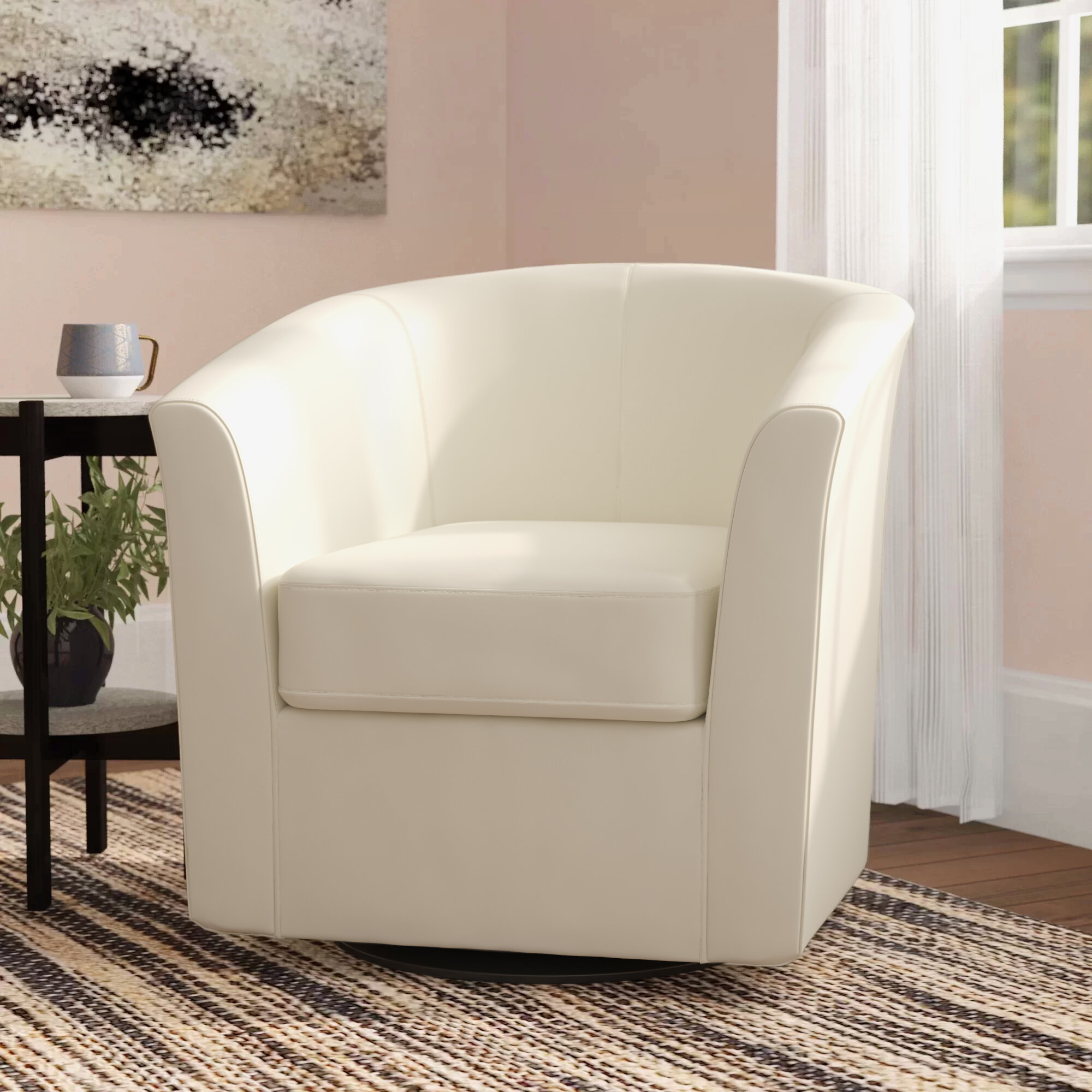 Picture of: Wade Logan Wilmore 30 W Faux Leather Swivel Barrel Chair Reviews