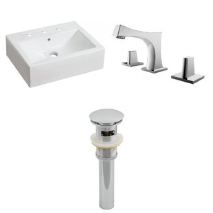 Above Counter Ceramic Rectangular Vessel Bathroom Sink with Faucet and Overflow ByRoyal Purple Bath Kitchen