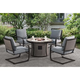 Brayden Studio Robertson Dining Set with Cushions and Firepit
