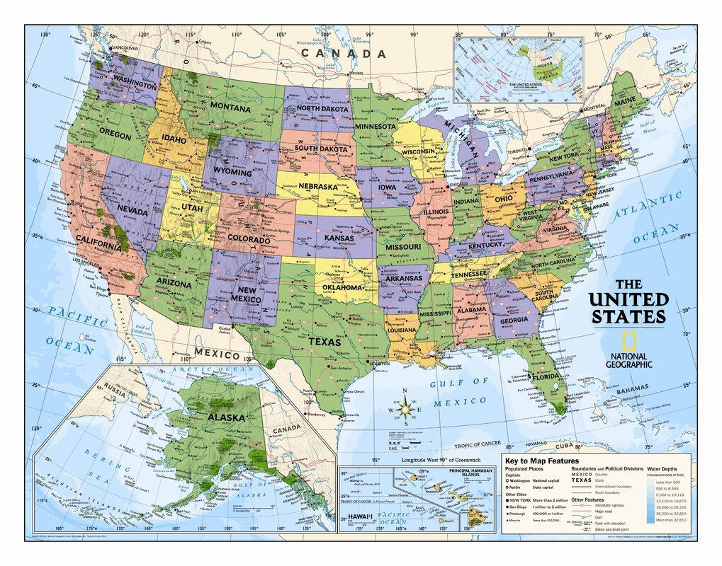 National Geographic Maps Kids Political USA Wall Map Grades - Political us map