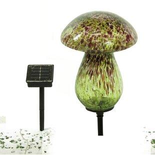 Solar Glass Mushroom Landscape Lighting by Benzara
