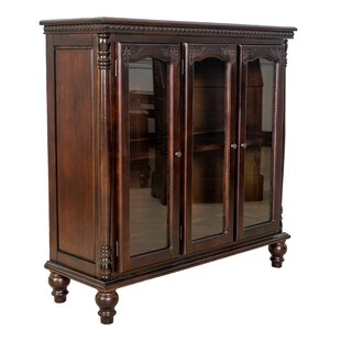Carved Glass 3 Door Accent cabinet