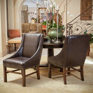 Vicki Bonded Leather Upholstered Dining Chair (Set of 2) Loon Peak