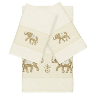 Bettie Embellished 3 Piece Turkish Cotton Towel Set