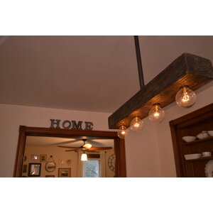 Recessed Wood Beam 4-Light Kitchen Island Pendant