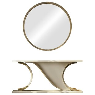 Everly Quinn Laivai Console Table and Mirror Set