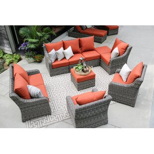 Valentin 10 Piece Sunbrella Sectional Seating Group with Cushions by Laurel Foundry Modern Farmhouse