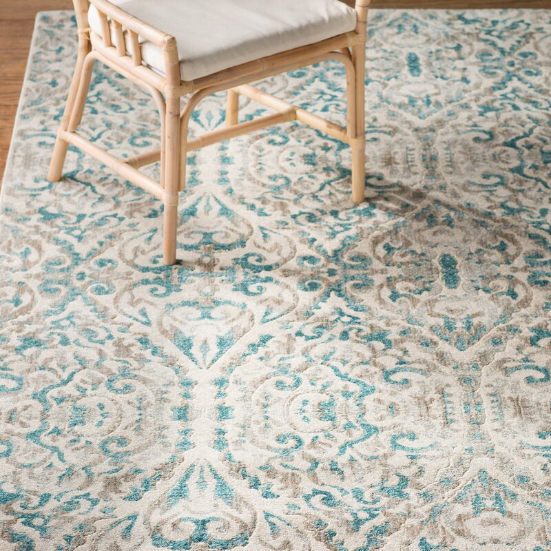bungalow rose saleya turquoise area rug & reviews | wayfair