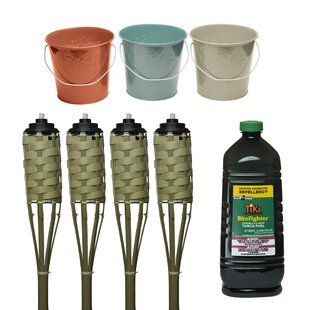8 Piece Luau Seaside Escape Wax Bucket And Tiki Torch Set