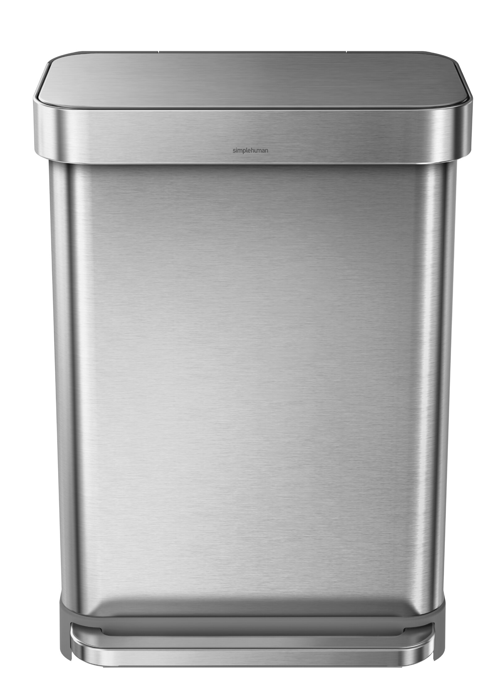 simplehuman 14.5 Gallon Rectangular Step Trash Can with Liner Pocket ...