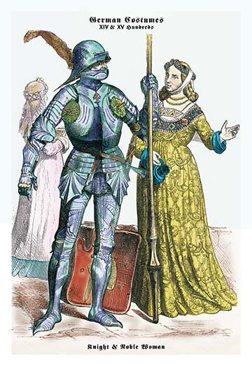 Buyenlarge German Costumes Knight With Staff And Noble Woman Painting Print Wayfair