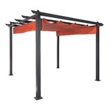Aurora Smoke 9.1 Ft. x 9.1 Ft. Metal Pergola with Canopy