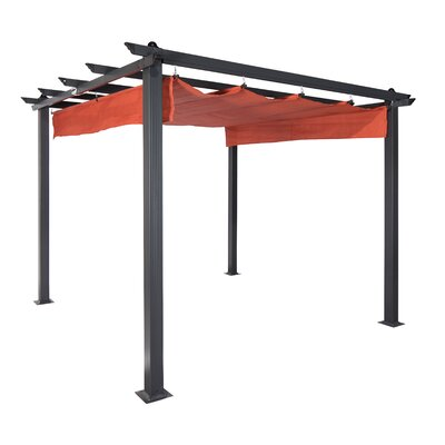 Aurora Smoke 9.1 Ft. X 9.1 Ft. Metal Pergola With Canopy by Coolaroo 2020 Sale