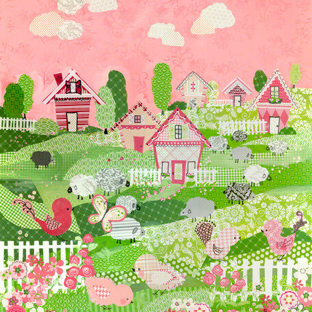 10 by 10-Inch Oopsy Daisy Counting Sheep Pink by Winborg Sisters Canvas Wall Art