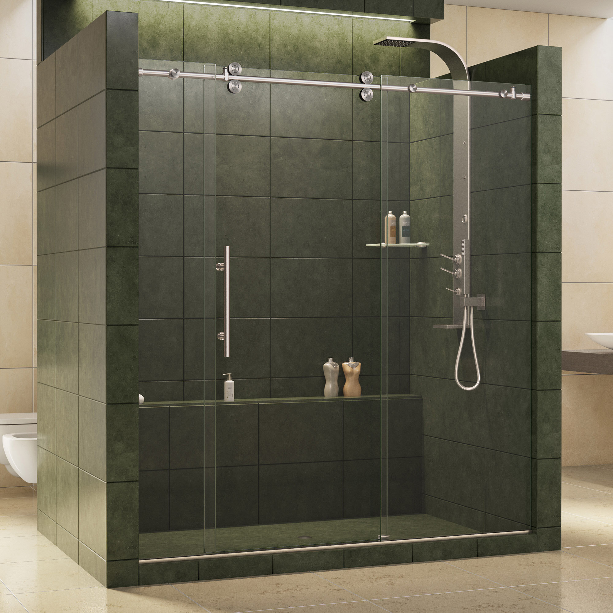 Enigma Z 72 X 79 Single Sliding Frameless Shower Door With Clearmax Technology