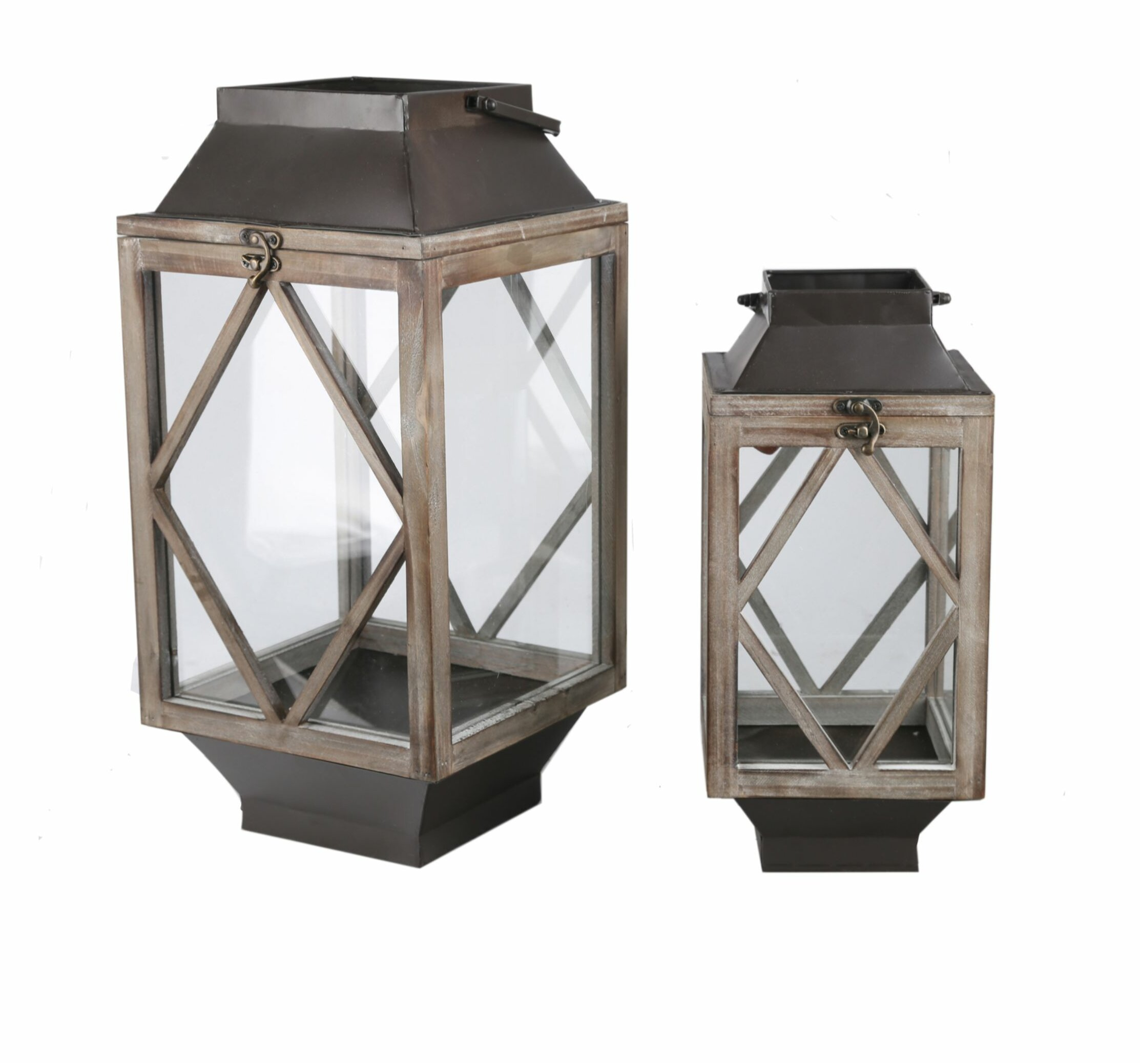 Union Rustic 2 Piece Tall Wood Glass And Metal Lantern Set Wayfair