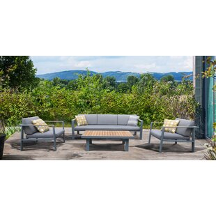 Lucian 4 Piece Teak Sofa Seating Group with Cushions