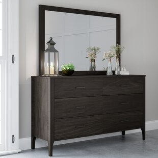 Mifley Wood 6 Drawer Dresser with Mirror