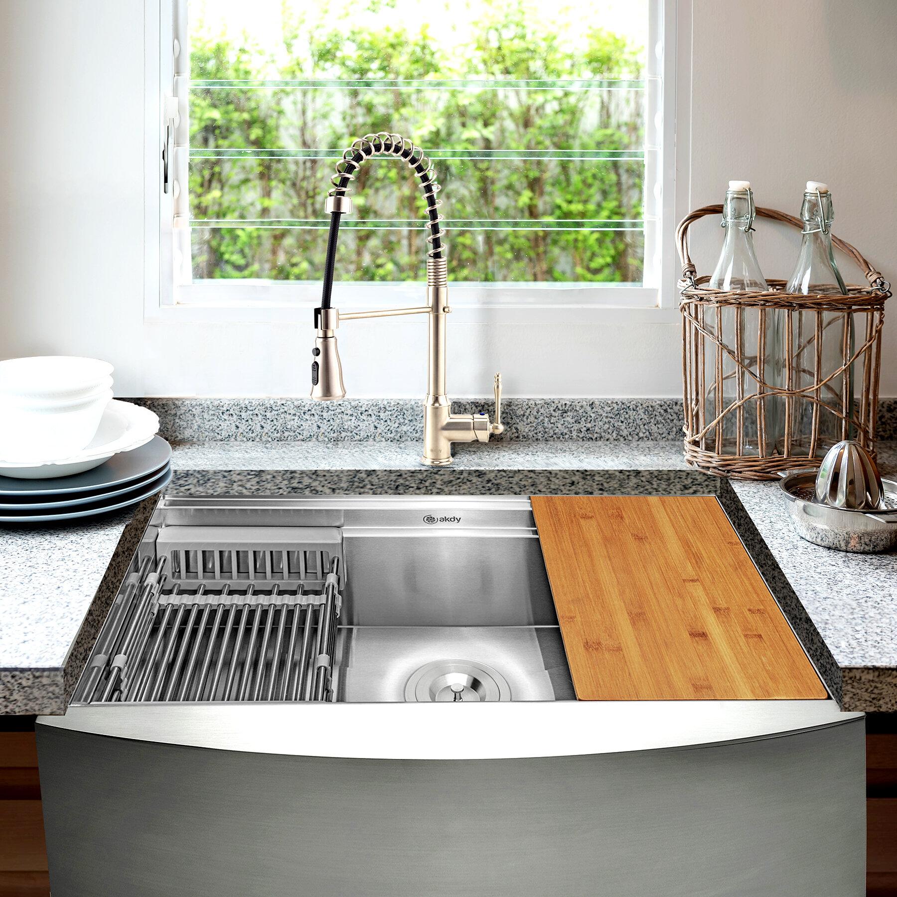 Akdy 33 L X 20 W Farmhouse Kitchen Sink With Faucet Wayfair