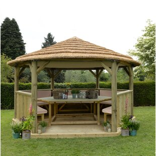 Review Furnished 4.9m X 4.3m Wooden Gazebo With Hardtop Roof