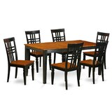 7 - Piece Butterfly Leaf Rubberwood Solid Wood Dining Set by East West Furniture