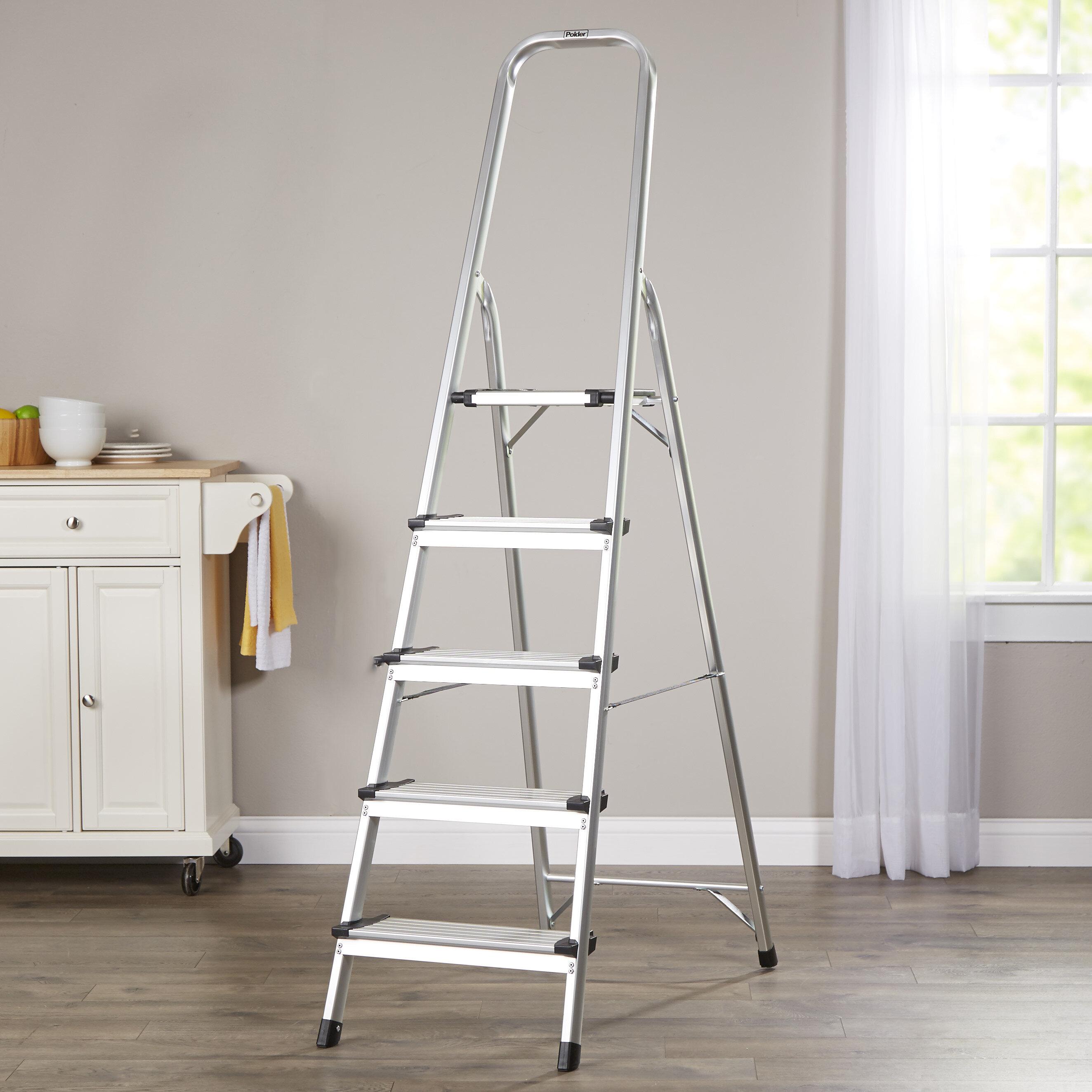 Wayfair Basics 5 Step Aluminum Ladder With 225 Lb Load Capacity Reviews