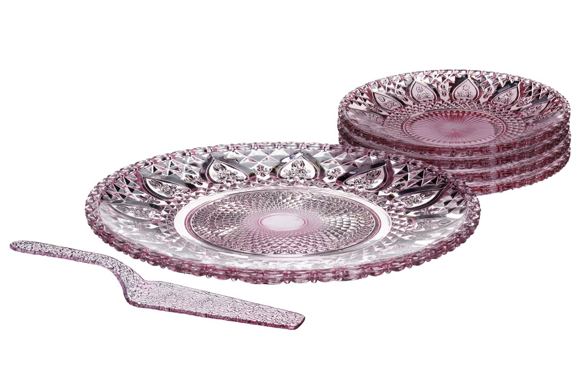 6 Piece Glass Cake Plate Set in Pink  sc 1 st  Wayfair & All Home 6 Piece Glass Cake Plate Set in Pink \u0026 Reviews   Wayfair.co.uk